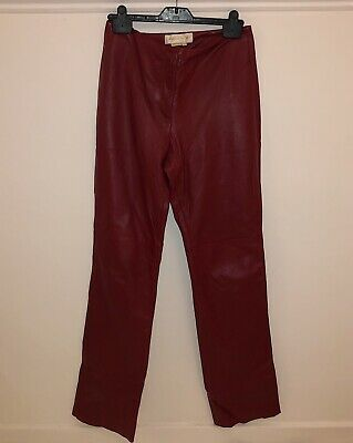 Vintage 90's Real Leather Burgundy Deep Red Straight Leg Trousers UK 10