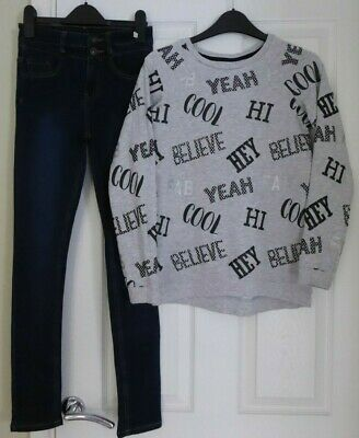 STUNNING TOP by `NUTMEG` + DENIM JEANS by NEW LOOK FOR A GIRL, AGE 11 YEARS
