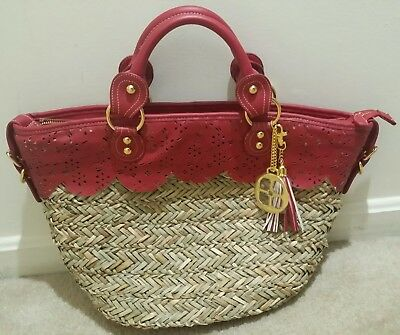 Iman Global Chic Luxury Resort Perforated Straw Handbag Tote》Red