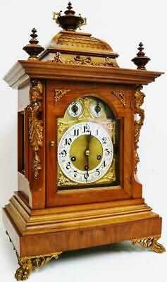Antique Junghans 8 Day Walnut & Bronze Westminster Chime Musical Bracket Clock
