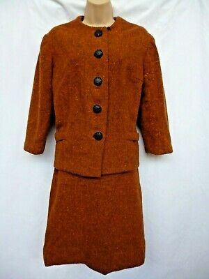Vintage Rust Coloured Wool Skirt Suit Skirt Size 8 Jacket 10