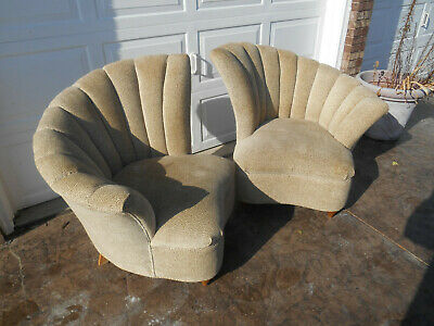 Pair of Vintage Art Deco / Hollywood Regency Fan Back Shell Chairs