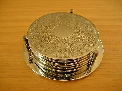 6 x Vintage Silver Plated Condiment Tumbler Coasters Floral with Stand