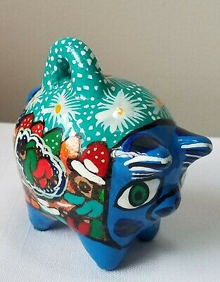 Mexican vivid Hand Painted Ceramic Small Coin Pig Piggy Bank