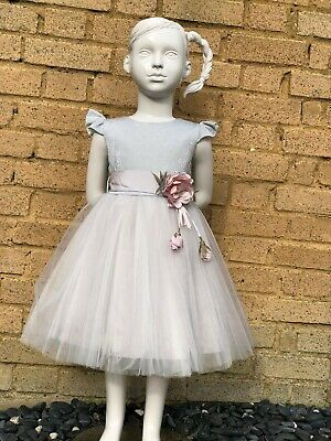 Girls Beautiful shimmering dress with tulle and flower details