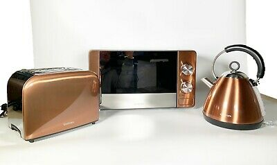 Copper Townhouse Kettle,2 Slice Toaster & 20L Digital Microwave Kitchen Set