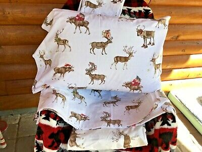 Pottery Barn SILLY STAG TWIN Sheet SET CHRISTMAS Reindeer, Moose, Deep fitted!