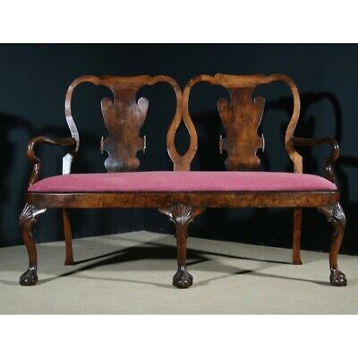 Antique Walnut Framed Georgian Style Two Seater Sofa Cabriole Legs