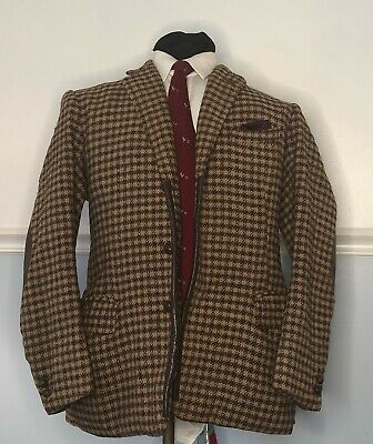 Tom Brown Savile Row Bespoke 40S Tweed Blazer Leather Patches & Buttons