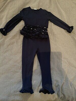 Girls Navy Blue Long Sleeve Frill Top With Pearls And Leggings Set - Age 5
