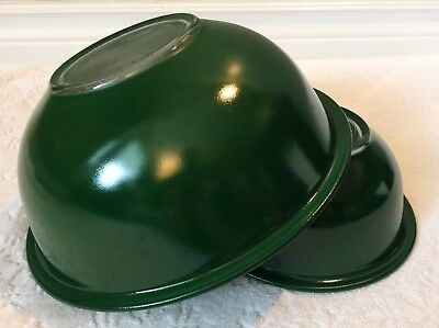 RETRO PYREX '90; TWO Solid-Colour GREEN Clear-Bottom Round Mixing-Bowls; 322 325