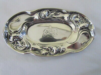 Antique Art Nouveau Repousse Sterling Silver Trinket Dish Simpson Hall Miller