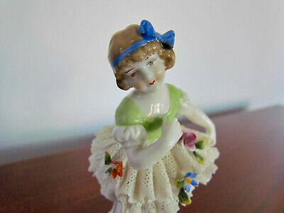 Antique Dresden Porcelain Child Ballerina Figurine Little Girl