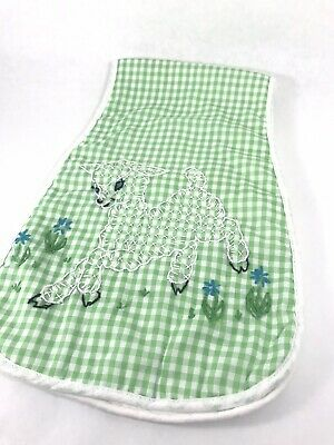 Vintage Over Shoulder Burp Cloth Lamb Hand Embroidered Green Gingham Terry Cloth
