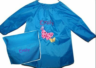 Kids Personalised Art Smock Paint Shirt & Chair Bag - Butterfly -First name FREE