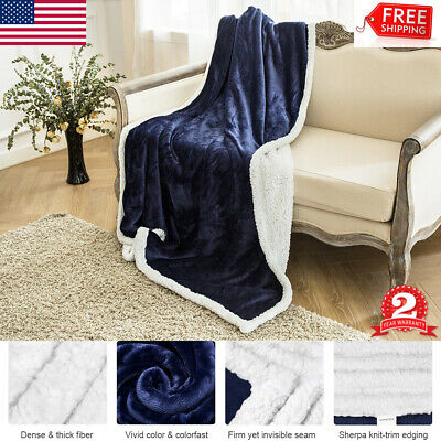 """Throw Sherpa Flannel Fleece Blanket Reversible Soft Plush 60x80"""" for Sofa Couch"""