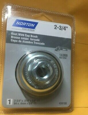 "Norton 2-3/4"" Knotted Cup Wire Brush with 5/8""-11 Thread for Angle Grinder"