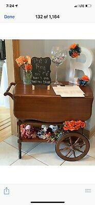 Vintage Tea Cart- Rolling Drop Leaf Bar Tea Cart Trolley -  Wood