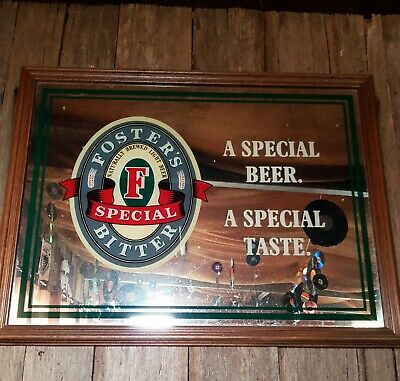 Foster's Mirror Bar Sign. Vintage Large 640mm X 475mm