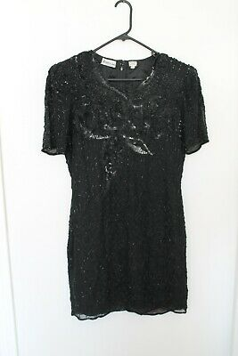 Jasdee Fashion New York Hand Silk Beaded Dress Size L India 80s
