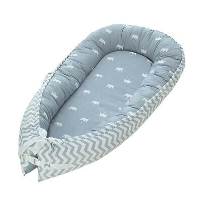 Baby Bed Foldable Breathable Newborn Portable Infant Lounger Nest Crown_Blue