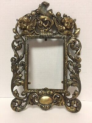 Antique Victorian Cast Iron Wall Picture Frame Cherub Face Scrolls Ornate Angels