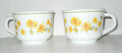 z.i..Vintage Set of 2 Arcopal France Cups Yellow Poppy Pattern 'D' Handle