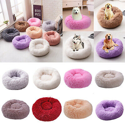 XS-XL Pet Dog Cat Kennel Calming Bed Round Nest Warm Plush Dog Sleeping Bed US