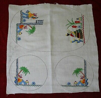 Vintage Embroidery Mexican Theme Duchess Doily Set ~ Unfinished