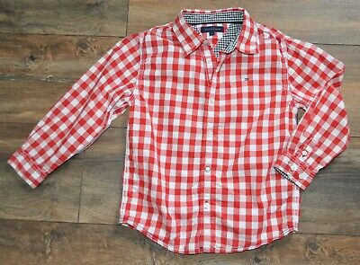 Tommy Hilfiger Designer Boys Red Check Shirt 5 Years Cotton