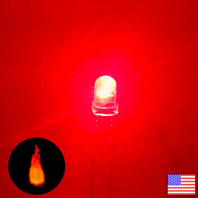 10pcs 3mm Red Candle Flicker Bright Flickering LED Light -10x - Fast US Shipping