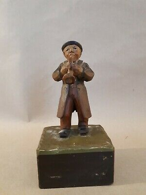 Antique Musical  Carved Wood Figurine Black Forest Austrian Figure In Costume