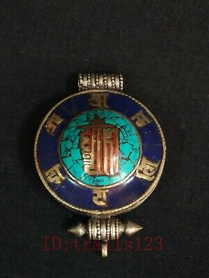 Collected Old China Tibet Silver Inlaid Turquoise Coral Snuff Box Pendant Amulet