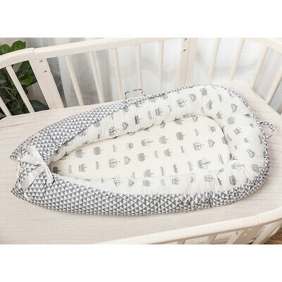 Baby Bed Foldable 0-3 Years Olds Portable Infant Lounger Nest Crown_White