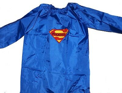 Kids Personalised Art Smock  / Paint Shirt - BOYS - Superman - First name FREE