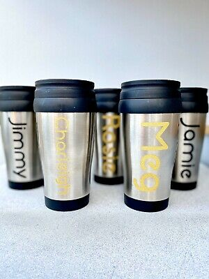 Personalised Travel mug any name, Gift, Thermal Coffee, Tea,Flask, Cup, Travel
