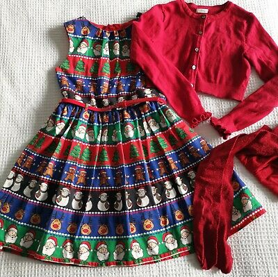 Next girls Christmas party outfit set dress cardigan tights red bundle 9yr 8-9