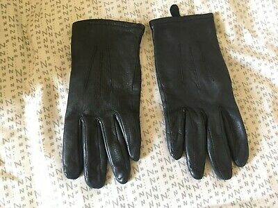 Ladies M & S Marks & Spencer Black Leather Gloves Size S