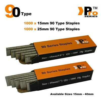 90 Type Staples: Size 15mm + 25mm ( MIXED 2000 Staple Handy Pack )