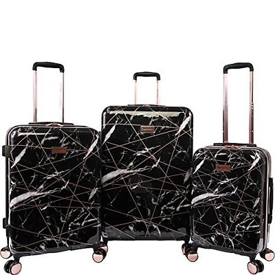 Juicy Couture Women's Vivian 3 Piece Hardside Spinner Luggage Set, Black Marble