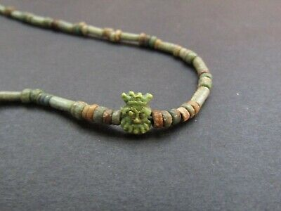 NILE  Ancient Egyptian Bes Amulet Mummy Bead Necklace ca 600 BC