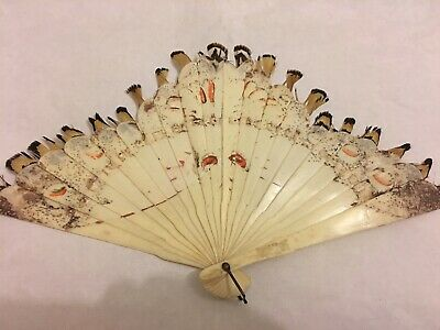 Antique Chinese Export Bone Feather Hand Fan Vintage Asian Old China