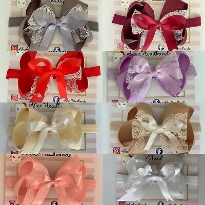 Big Bow Baby Girls Headbands Lace Bow Elastic Band 4 Inches Spanish Dress+ Lot