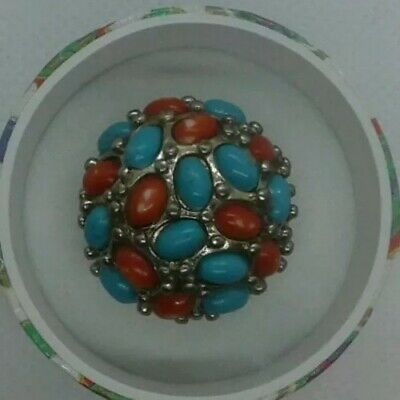 Navajo Style costume ring simulated coral and turquoise domed. Size 7 3/4  boxed