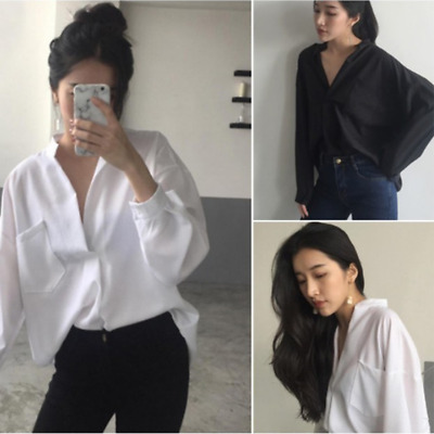 Shirt Loose Slim Casual Korean Sexy Deep V Neck Blouse Womens Solid Fashion KTP