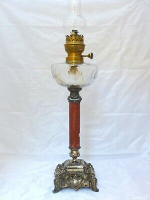 XL Superb Antique Large French Oil Lamp Marble Complete 19TH Napoleon III