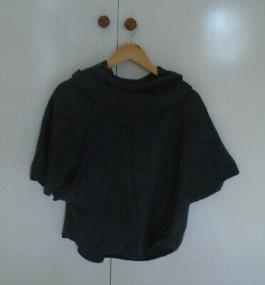 FAT FACE Jumper Size M Dark Grey Cable Knit Cowl Neck Batwing Wool Blend