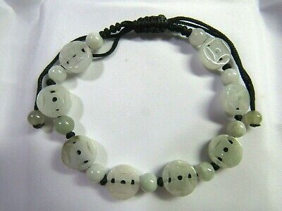 NATURAL Jade Carved Chinese Old Coins Lucky Money Wealth FENG SHUI Jade Bracelet