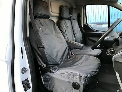 Black 8 Piece Fully Tailored Van Seat Covers For Ford Transit Custom 2016