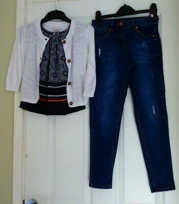 Girls Stunning 3 Piece Set Of Top, Jeans & Cardigan, Age 7 - 8 Years